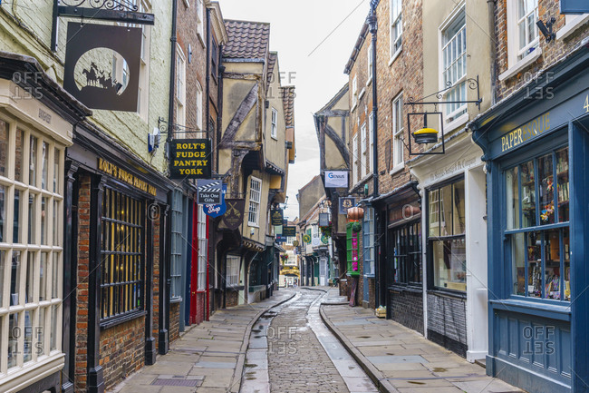 July 23, 2020: The Shambles, a preserved medieval street in York, North Yorkshire, England, United Kingdom, Europe