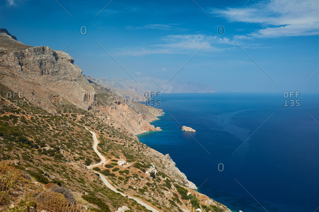 View from mountain ridge along the coast and the Aegean Sea, Amorgos, Cyclades, Greek Islands, Greece, Europe