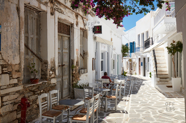 July 27, 2020: Parikia town empty street, Parikia, Paros, Cyclades Islands, Greek Islands, Greece, Europe