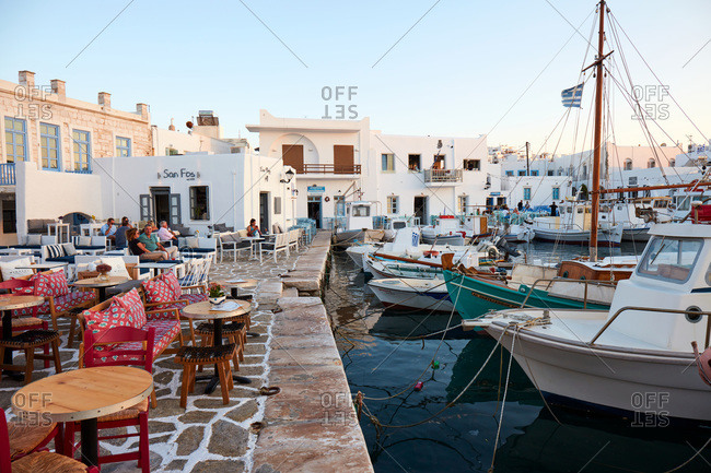 July 27, 2020: Naoussa harbor front, Paros, Cyclades Islands, Greek Islands, Greece, Europe