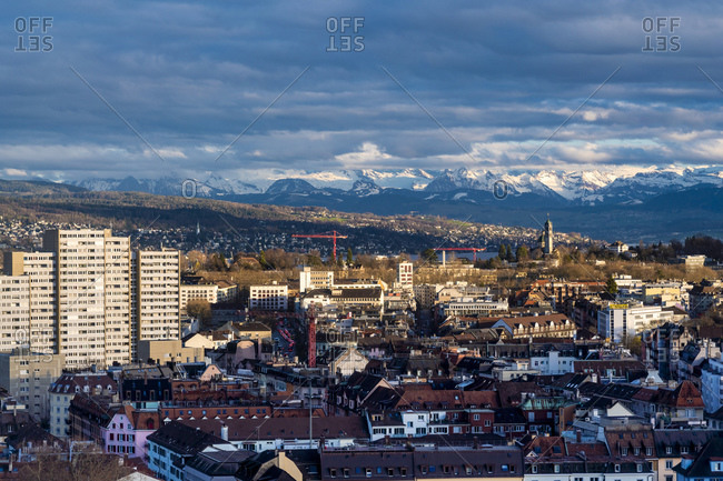View of Zurich from above with mountains in the background, Zurich, Switzerland, Europe