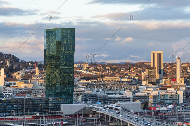 February 25, 2020: View of Zurich from above with the Prime Tower, Hard bridge and mountains in the background, Zurich, Switzerland, Europe