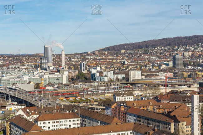 February 15, 2020: View of Zurich from above with mountains in the background, Zurich, Switzerland, Europe