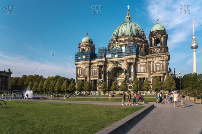 August 27, 2019: Berliner Dom (Berlin Cathedral) with the Lustgarten in the foreground, Berlin, Germany, Europe