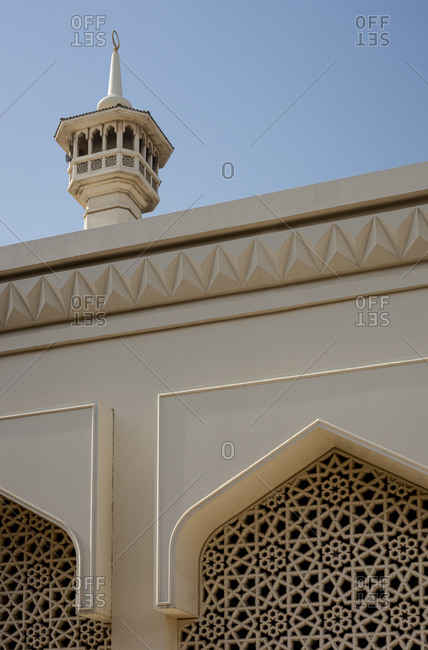 The minaret of the Grand Mosque in the Al Fahidi district in Bur Dubai, United Arab Emirates