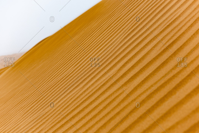 Abstract view of sand patters on the dunes in the desert of the United Arab Emirates