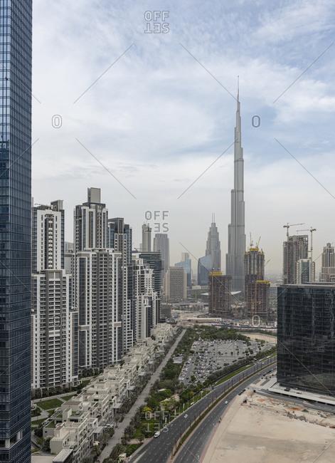Dubai, United Arab Emirates - April 7, 2018: The Burj Khalifa skyscraper and the skyline in the city of Dubai