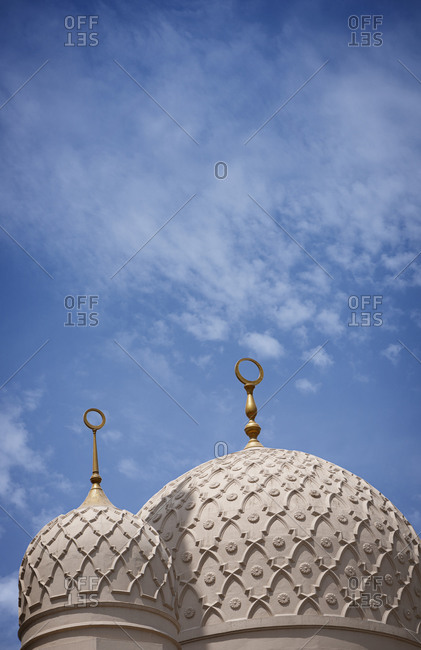 Domes of the Jumeirah Mosque in Dubai in the United Arab Emirates