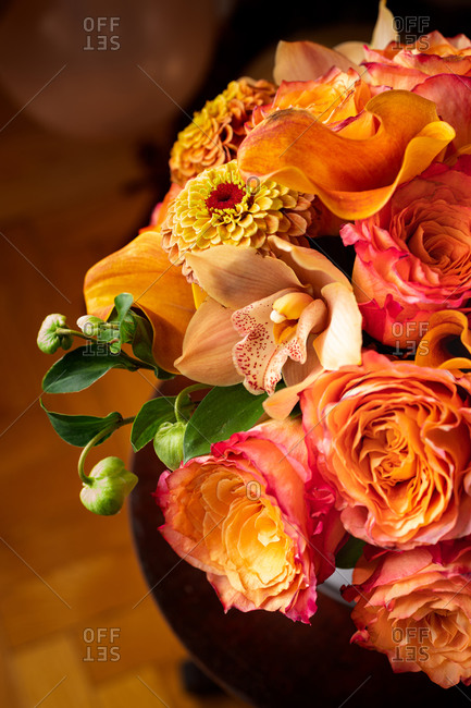 Beautiful bouquet with yellow and pink roses