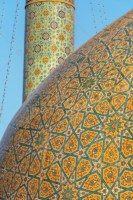 Beautiful ornament of mosque cupola in Qom, Iran