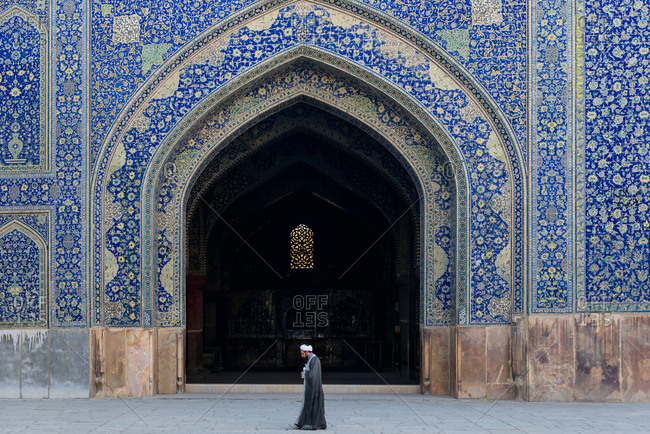 March 3, 2018: Imam on the courtyard of Imam Mosque in Isfahan, Iran