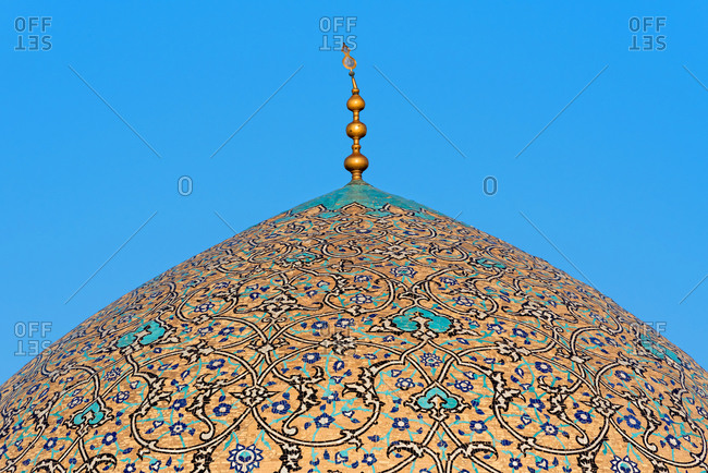 March 1, 2018: Beautiful ornament of mosque cupola in Isfahan, Iran