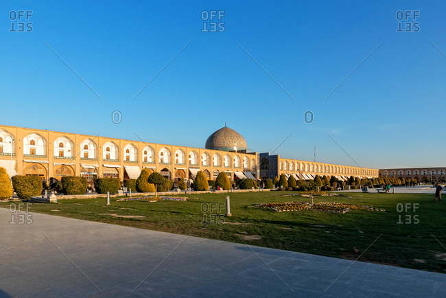 March 3, 2018: View over the Royal Square and the Sheikh Lotf Allah Mosque in Isfahan, Iran