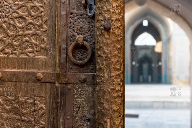 Entrance door of a mosque in Yazd, Iran