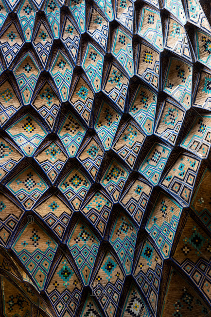 Textured ceiling in Grand Bazaar of Khasan, Iran