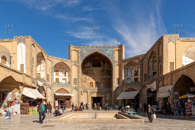March 3, 2018: Entrance at the Great Bazaar of Isfahan, Iran