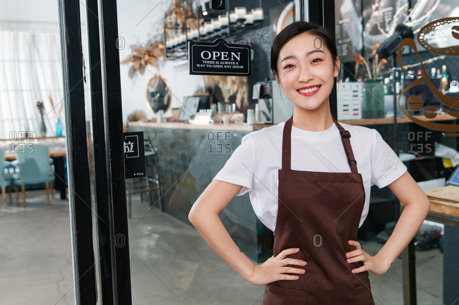 A waitress in a coffee shop