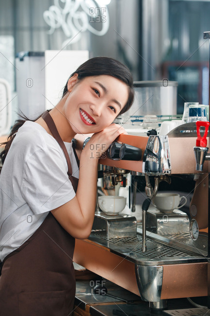Barista coffee making at a shop