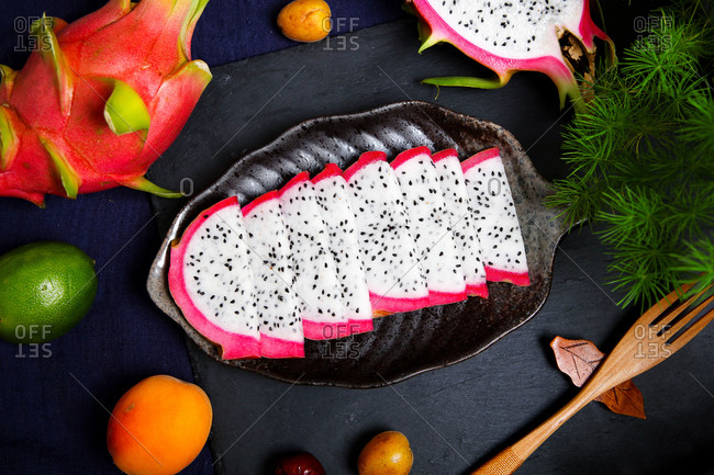 pitaya ste out on a plate ready to eat