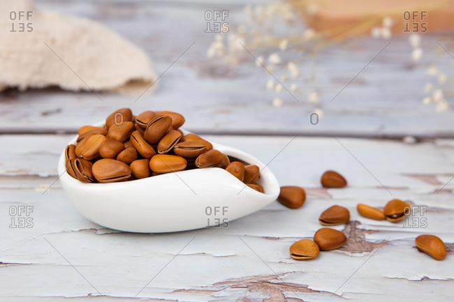 Pine nuts close up shot