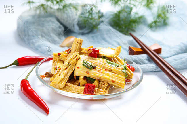 Cold bean curd stick ready to eat