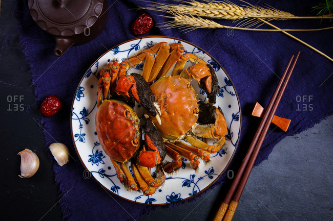 A crab set out on a plate
