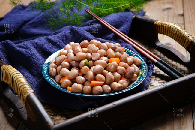 Cold peanuts set out on a table
