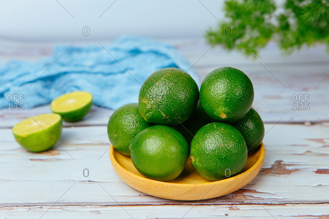 Shot of a lime in a dish