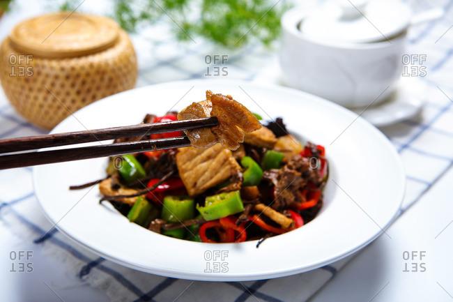 Chinese food tea tree mushroom fry meat