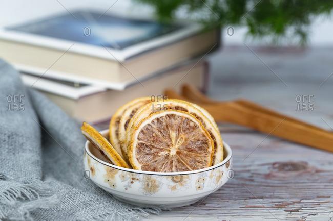A fresh lemon on a plate