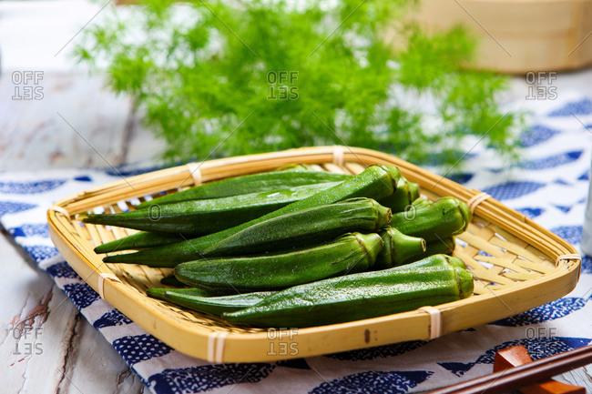 Fresh okra in a dish ready
