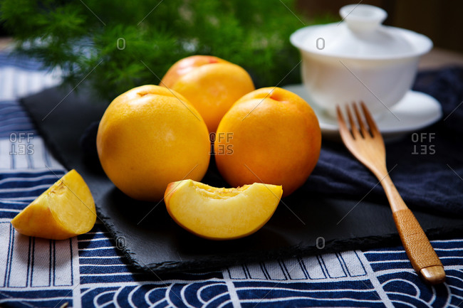 Yellow peach drink nutrition afternoon tea