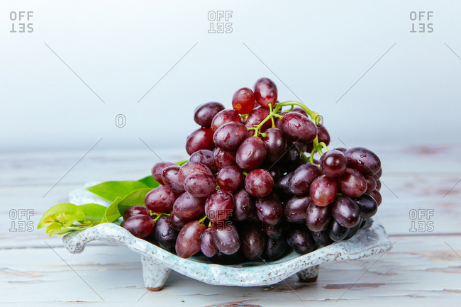 Clusters of purple grapes detail shot