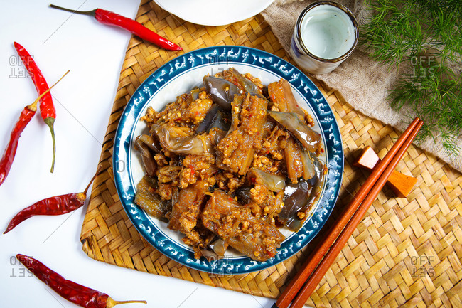 Chinese food is meat foam eggplant