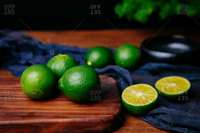 Close up of a lime on a plate