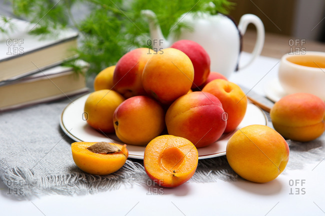 Fresh Apricot on a plate