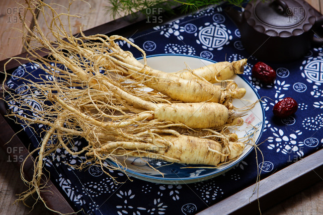 Fresh ginseng root set out on a platter