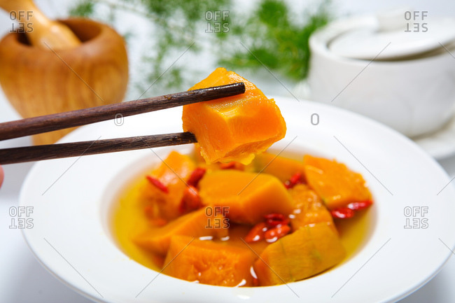 Chinese wolfberry pumpkin soup ready to eat