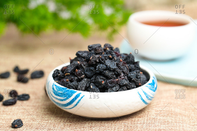 Black currant on a platter ready to eat