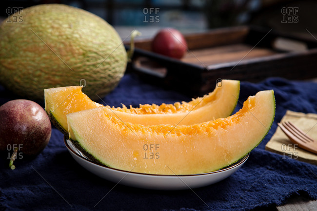 Hami melon set out on a plate
