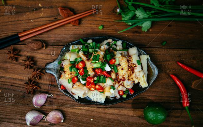 Cold dish spicy chicken feet skin