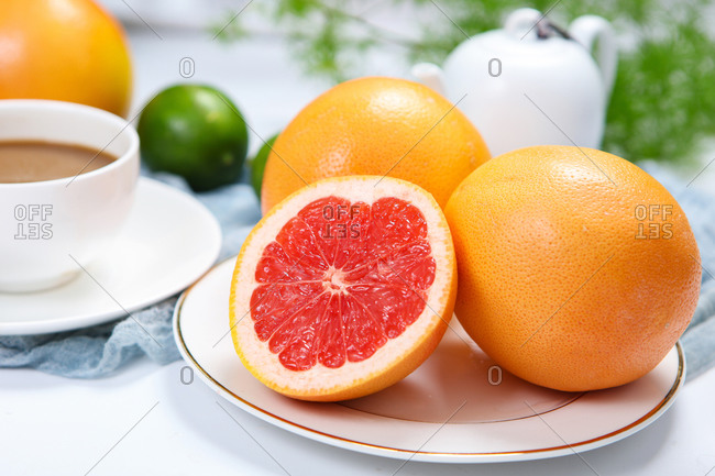Grapefruit of hearts set out on a platter
