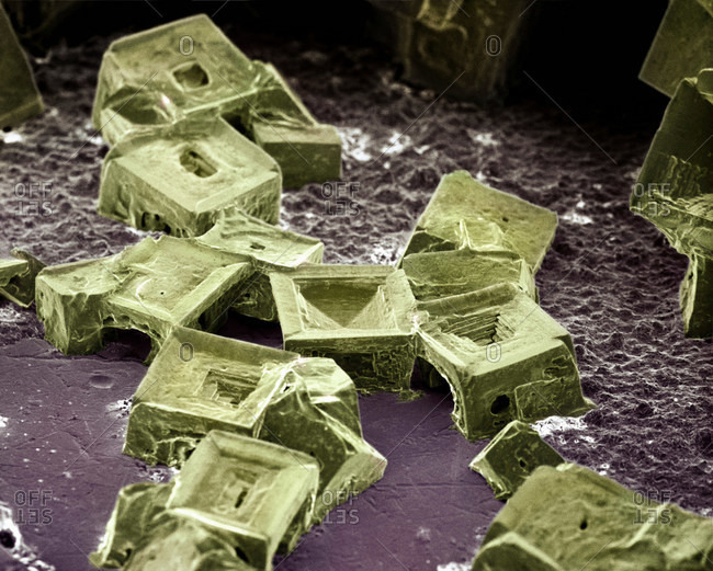 Microscopic view of salt crystals