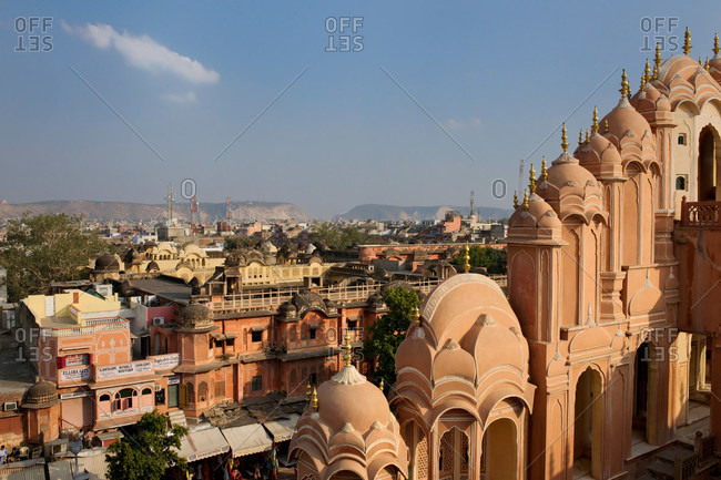 August 11, 2020: View over the top of Hawa Mahal Palace of Winds in Jaipur, Rajasthan, India