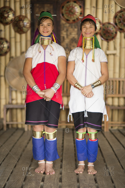 September 10, 2013: Portrait of two women in traditional clothing, Inle lake, Burma