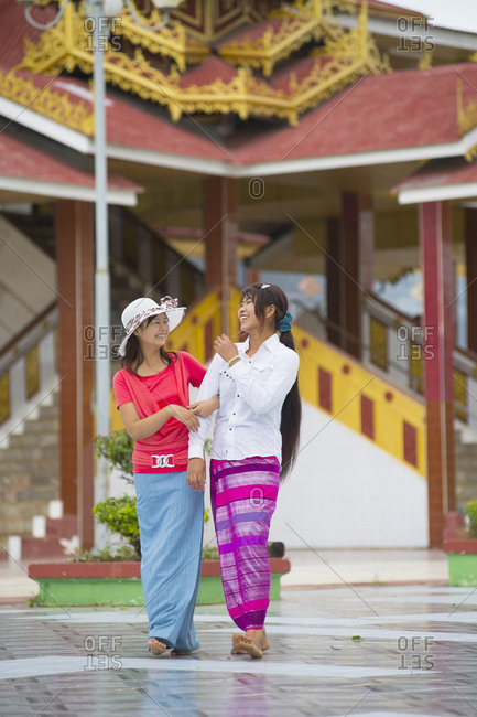 Two women laughing, Inle lake, Burma