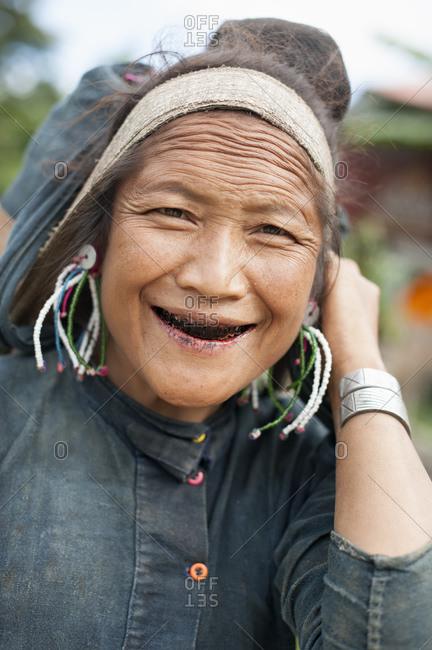 September 7, 2013: Portrait of senior woman smiling, Shan State, Keng Tung, Burma