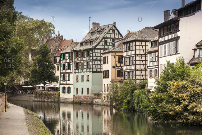 August 18, 2013: Traditional buildings on riverside in Strasbourg, France
