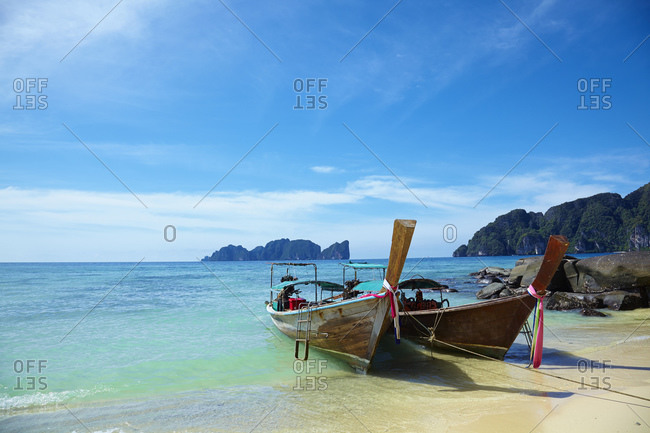 Boats on beach, Phi Phi Don, Thailand