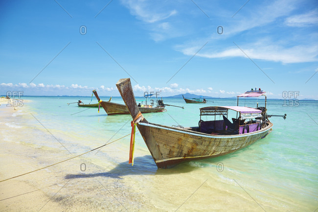 View of boats on beach, Phi Phi Don, Thailand